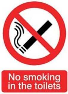 No smoking in the toilets Self-adhesive labels  (H)200mm (W)150mm