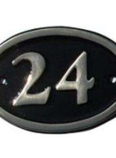 The House Nameplate Company Polished Black Brass Oval House number 24  (H)120mm (W)160mm