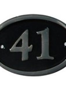 The House Nameplate Company Polished Black Brass Oval House number 41  (H)120mm (W)160mm