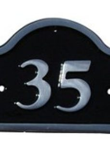 The House Nameplate Company Polished Black Aluminium House number 35  (H)120mm (W)160mm