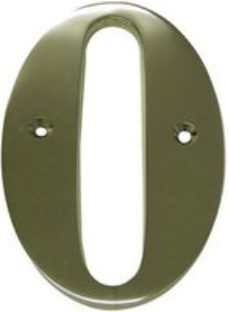 The House Nameplate Company Polished Brass House number 0  (H)150mm (W)85mm