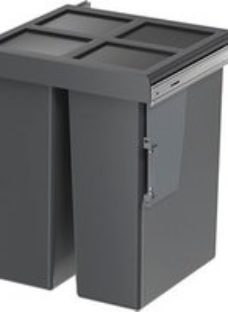 GoodHome Vigote Anthracite Silver effect Plastic Rectangular Integrated Kitchen Pull-out bin  64L