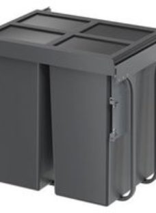 GoodHome Vigote Anthracite Silver effect Plastic Rectangular Integrated Kitchen Pull-out bin  92L